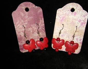 Red Howlite Butterfly Earrings