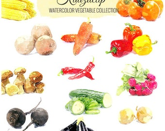 Watercolor Vegetable Collection - Commercial and Personal Use