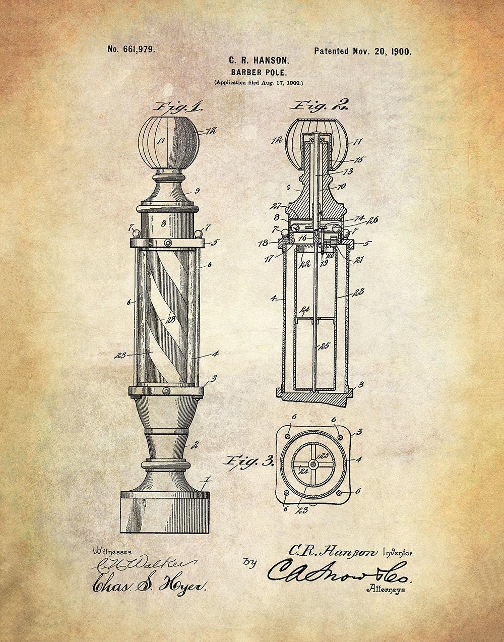 Preferred Barber Pole Patent Art Print - Vintage Barber's Shop Advertising  XQ51