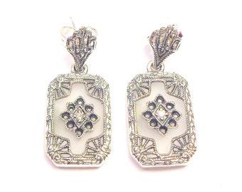 Gorgeous, Art Deco Design, Camphor Glass, Diamond Earrings, Sterling Silver Filigree, Gemstone Earrings, Gem Drop Earrings