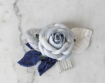 Blue Rose Hair Comb, Small Hair Comb, Paper Flower Headpiece, Something Blue Hair Comb, Flower Hair Clip, Bride, Bridesmaid, Wedding Guest