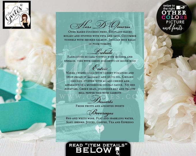 Breakfast at menu cards Audrey Hepburn inspired party bridal shower, birthdays, weddings, menu cards 4x6, digital file, Gvites.