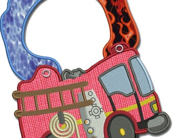 Bib for Baby, Children, Toddler personalized included in the price Organic Cotton Made in Europe (Fire Truck)