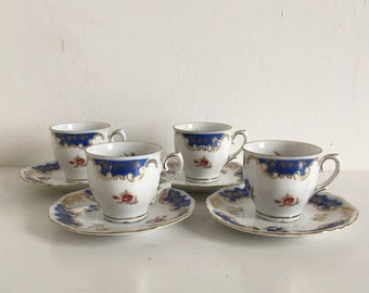 Vintage Winterling Roslau Bavaria China Small Cups And Saucers Set Of 4