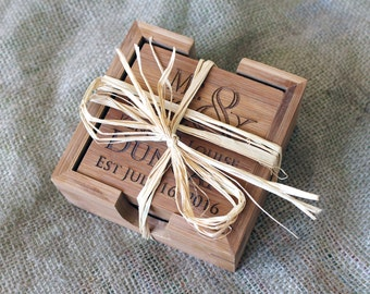 Custom Coasters, Wedding Gift, Personalized Coasters, Custom Engraved Bamboo Coasters, Quantity discounts