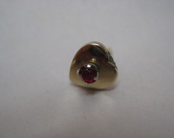 Heart Red Gold Tie Tack Rhinestone Lapel Pin Vintage Anson