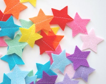 Rainbow Felt Garland, Star Garland, Nursery Decor, Baby Gift