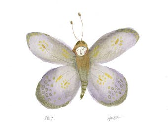 whimsical butterfly wall art, insect illustration, naive, quirky art, magical, fairytale ORIGINAL painting