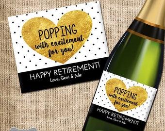 Retirement Gift Champagne Label, Retirement Gift, Retirement Wine Label, Retirement Champagne Label, Custom Retirement Gift, Co-Worker Gift