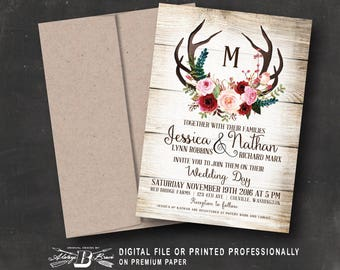 Rustic Wedding Invitation | Printed OR Printable Digital File | Deer Horns Antlers Country Marsala Red Pink Flowers Floral Wood