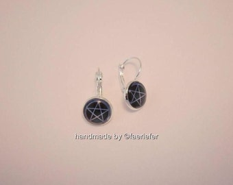 Mystic Pentagram glass cabochon Earrings silver plated pagan wiccan jewellery