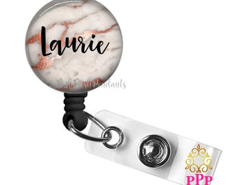 Rose Gold Marble ID Badge Holder | Retractable Badge Reel Holder |Personalized Badge Holder | Nurse | Teacher | Student | Style 836