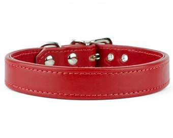 Soft Red Leather Dog Collar