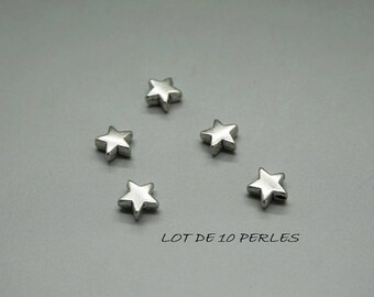 set of 10 beads star in Silver (F40)