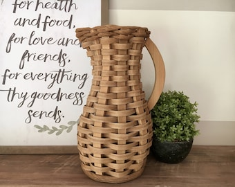 SALE! Wooden Basket Weave Pitcher . Modern Farmhouse Decor . Basket . Cottage Kitchen . Neutral Home . Flower Vase