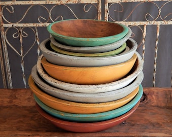 PAINTED WOODEN BOWLS/ 8 inch bowl /  FarmhouseStyle Wood Bowls/ Distressed Wooden Bowls/ Vintage Style Wooden Bowsl/ Primitive Wooden Bowls