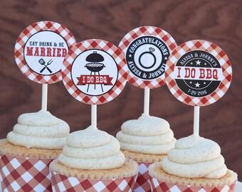 I Do BBQ Cupcake Toppers - I Do BBQ Decorations - I Do BBQ Couples Shower - I do Bbq Engagement Party -  Printable Pdf File