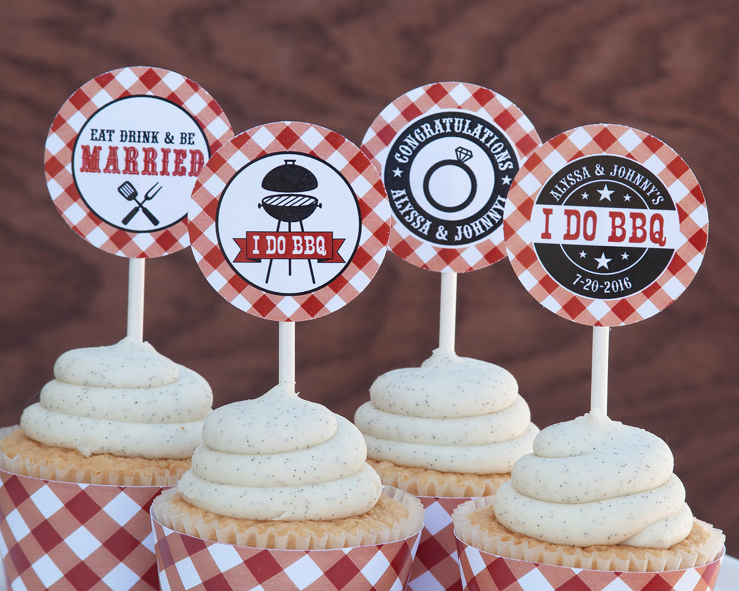 I Do BBQ Cupcake Toppers Decorations
