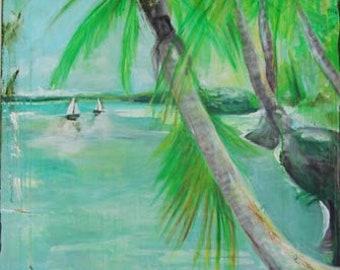 Boat painting, boat art, sailboat painting, ocean art, beach house art, ocean wall art, large, palm tree art, nautical art, coastal art