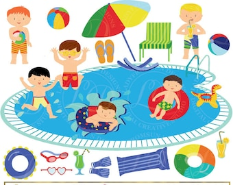 SALE Girls Pool Party Cute Clipart Pool Party Clip Art