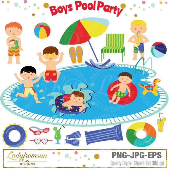 Boys Pool Party Clipart Pool Party Clip Art Summer Party