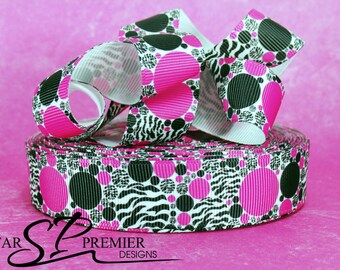 "7/8"" Pink and Black Dots Grosgrain Ribbon"