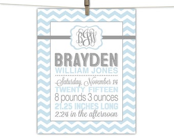 New Baby Gift Personalized, Birth Announcement Wall Art Boy, Gray Blue Custom Nursery Decor Keepsake Print or Canvas