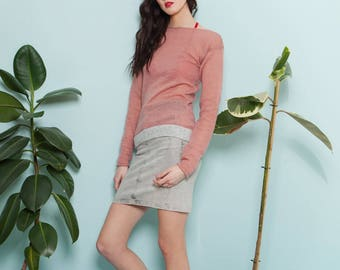 Knitted pink mohair blend sweater SUNDAE