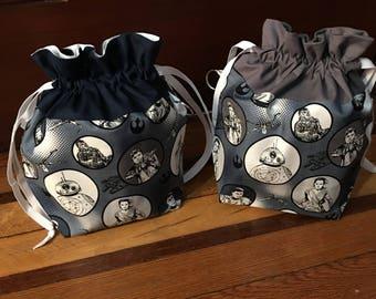 Star Wars. Rey-BB8-Finn-themed medium fully-lined cotton drawstring knitting project bag or dice bag