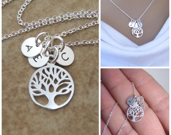 Dainty Family Tree and Tiny initial necklace - Mom necklace - Children's initials - Mother's day gift - Photo NOT actual size