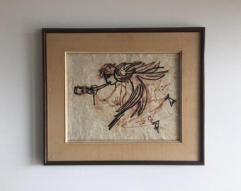 Mid Century Modern Original Angel Gabriel Drawing Painting