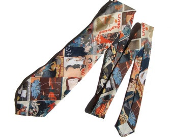 Vintage 70s Wide Tie Nouveau Posters Novelty Print Necktie by Custom Creation