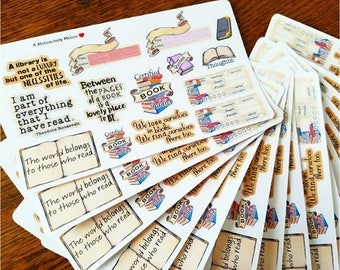 Bookish Sampler~ Hand Drawn Reading Trackers & Quotes Sampler for Planners