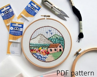 Sampler. 21 embroidery stitches tutorial. Hand Embroidery pattern PDF. Embroidery Hoop art, Wall Decor, Housewarming Gift. Stitch guide