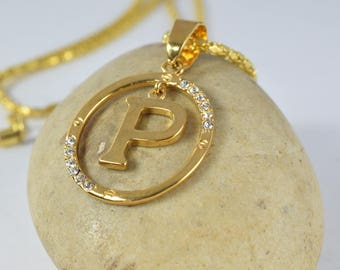"""22mm 18KT Gold Filled Crystal Rhinestone Round """"P"""" Pendant,Initial Necklace,Charm,Gold Letter,Pendants,Gold pendants,Personalized Initial"""