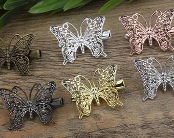 20 Brass Alligator Hair Clips W/ 36x25mm Filigree Butterfly Antique Bronze/ Silver/ Gold/ Rose Gold/ White Gold/ Gun-Metal Plated- Z6167