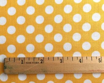 Yellow Dot Fabric - Michael Miller Mango Ta Dot Fabric - Yellow and White Polka Dot Material