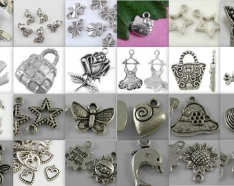 Charm Soup-choice of qt-tibetan antique silver-mixed charms-CLEARANCE-PRICE REDUCTION