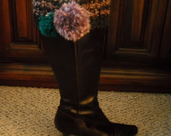 Stripe Boot Cuff/Retro Boot Cuff/Boot Topper/Boot Legwarmer/Purple & Black Boot Cuff/Gift for Her/BoHo Boot Cuff/Peace and Love Boot Topper