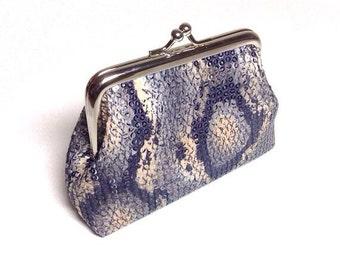 Sequin snakeskin print purse