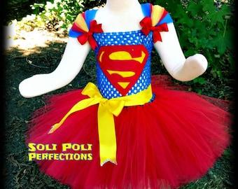 SuperGirl Costume Red Tutu Super Girl Tutu Superman Tutu Superman Costume Halloween Costume Red Tutu Dress Superman Tutu Set & Supergirl tutu dress | Etsy