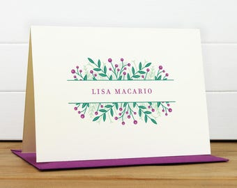 Personalized Stationery Set / Personalized Stationary Set - WILDFLOWER [BEET COLORWAY] - Custom Personalized Note Card Set - Floral Pretty