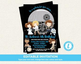 Star Wars Invitation, Star Wars Invite, Star Wars Birthday Invitation, Star Wars invitation instant, Starwars invitation, editable, templett