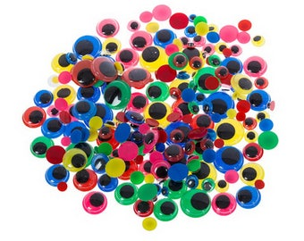 30005986 - Paste On Color Wiggle Eyes with Black Pupils - Assorted Sizes - 200 pieces