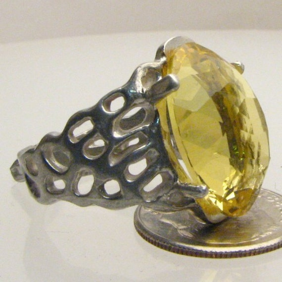 Handmade Sterling Silver Yellow Citrine Lava Ring