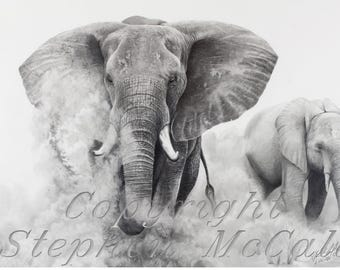 "Giclee fine art print of original ""Elephants in the Dust"" drawing, elephants, elephant art, animals, wildlife art, Africa, african elephant"