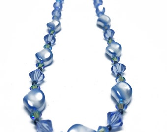 Blue Swarovski Crystal and Pearl Necklace