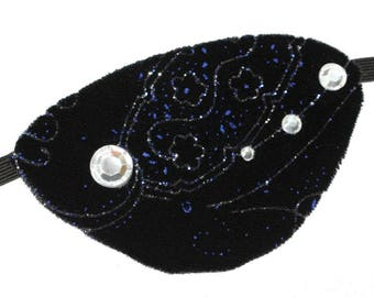 Velvet Eye Patch Constellations Blue Black Jeweled Fashion Fantasy Eyepatch Pirate Steampunk