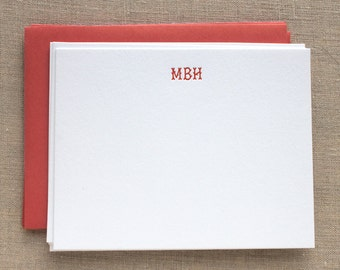 Letterpress Flat Cards with Branch Initials
