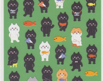 Cat Stickers - Japanese Paper Stickers - Mind Wave - Reference A2488